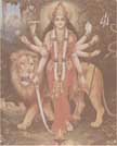 1022 Durga Standing near Lion