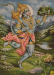 3822 Hanuman Standing Holding Mace and Herb Mountain, color