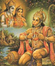 3824 Hanuman Kneeling Outdoors Showing His Heart, Seeing in His Mind Rama and Sita, color