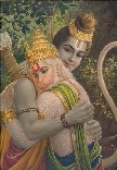 3825 Hanuman Standing Embracing Rama, color
