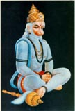 3828 Hanuman Sitting, Blue Fur, color