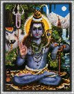 4610 Shiva Seated in Forest Giving Mudra Blessing, Dark Blue