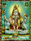 4617 Shiva Seated in Lotus, Four-Armed, green background