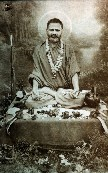 5510 Swami Brahmananda Saraswati Seated in Lotus with Halo, B-W