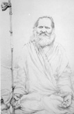 5517 Swami Brahmananda Saraswati in Forest Sitting in Lotus, B-W drawing